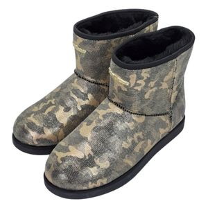 Juicy Couture black glitter camo boots, size 7